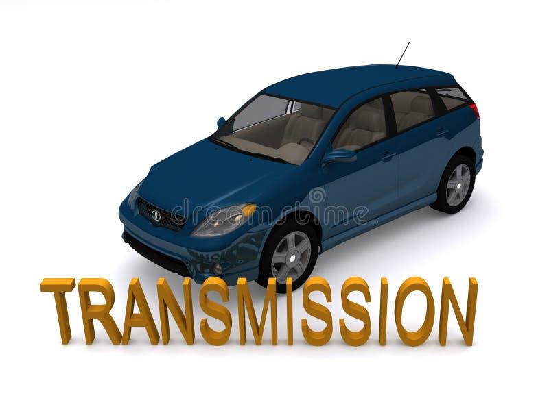 Véhicule et boîte de vitesses bleus illustration de vecteur