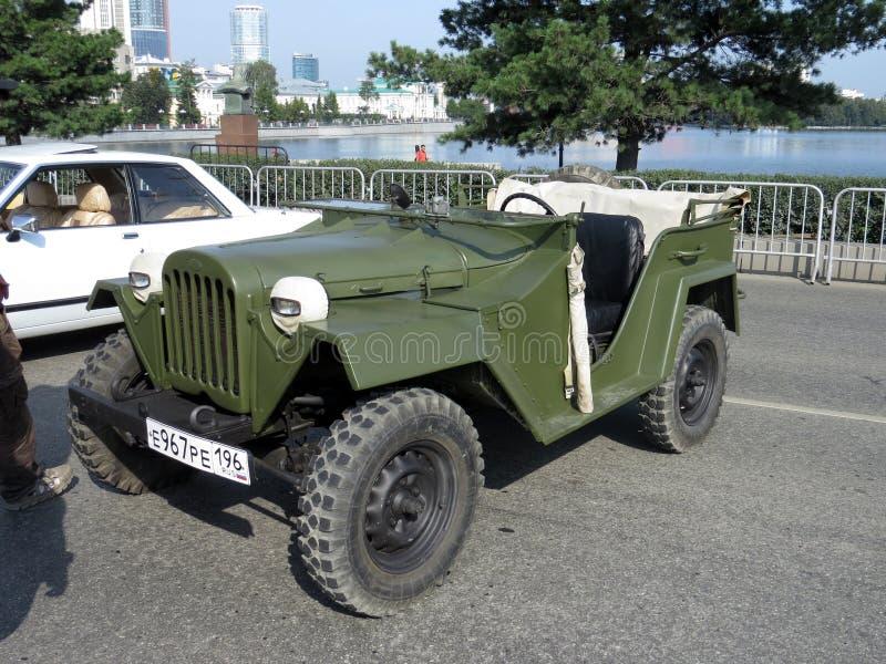 Véhicule militaire GAZ-67B Émission en 1943 Le personnel et le véhicule de reconnaissance pourraient servir de tracteur pour le t images libres de droits