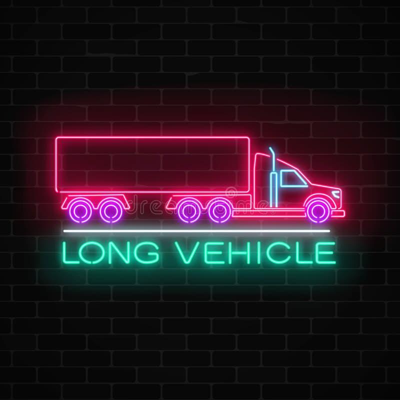 Véhicule rougeoyant de néon le long se connectent un fond de mur de briques Enseigne de lueur d'un camion de fret illustration libre de droits