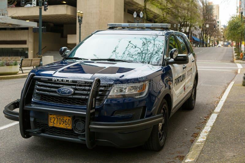 Véhicule utilitaire sportif de police de Portland garé images libres de droits