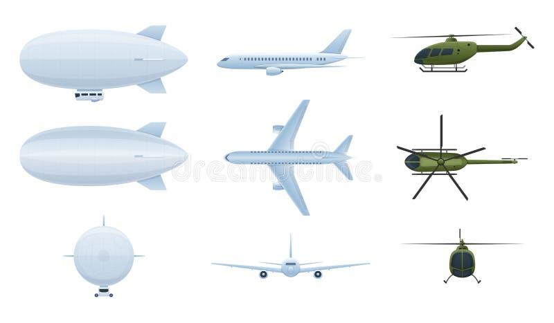 Véhicules aériens Aérostat de ballon à air, hélicoptères, avions dans différents angles illustration de vecteur