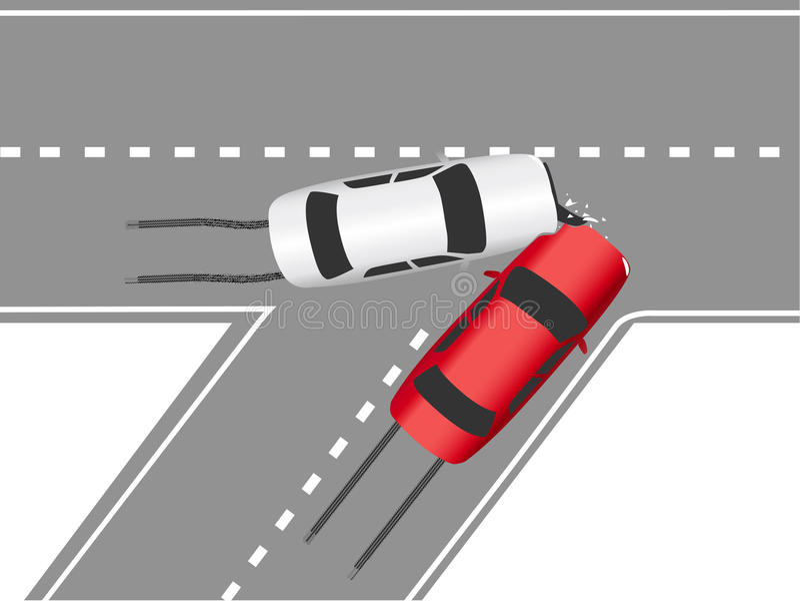 Véhicules automatiques de route de collision de circulation illustration libre de droits
