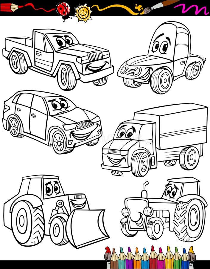 Véhicules de bande dessinée réglés pour livre de coloriage illustration stock