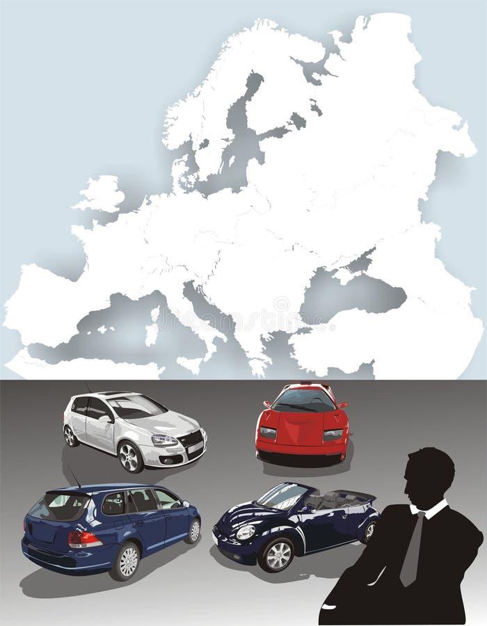 Véhicules. La carte de l'Europe illustration libre de droits