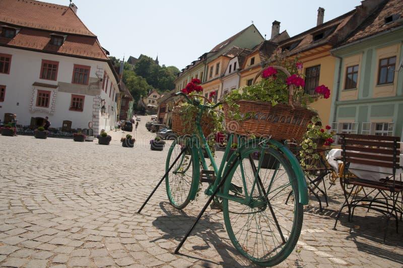 Vélo avec des fleurs photo libre de droits