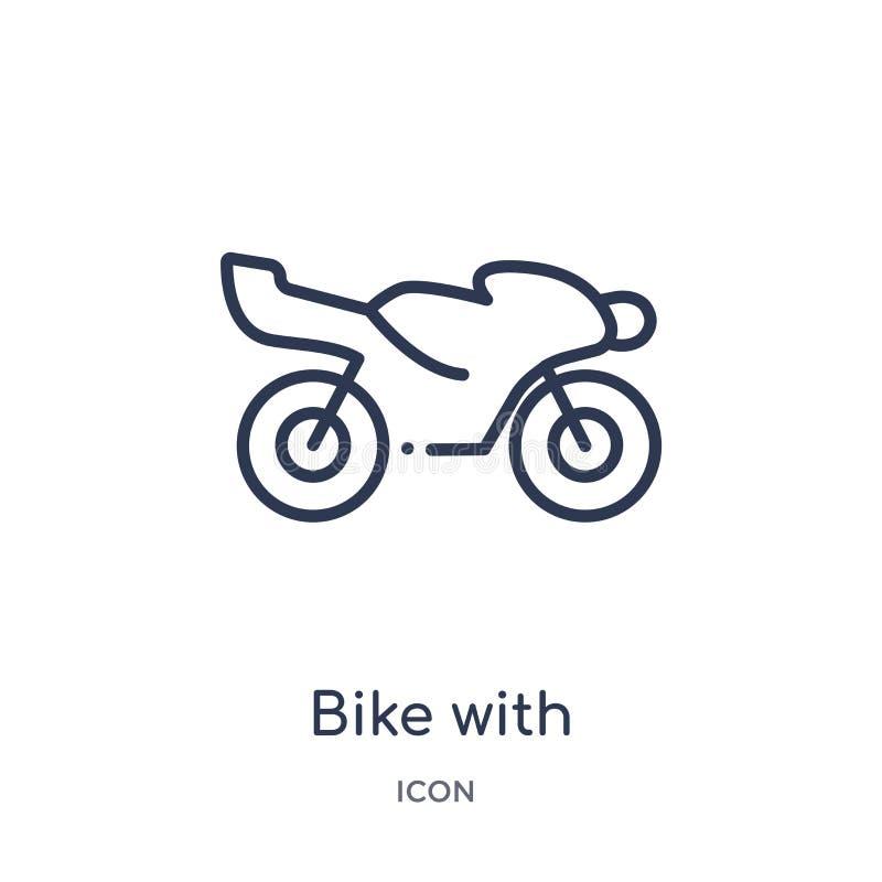 vélo avec le moteur, icône d'interface d'IOS 7 de collection d'ensemble de transport Ligne mince vélo avec le moteur, icône d'int illustration de vecteur