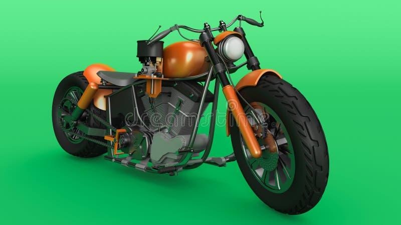 Vélo avec moteur chromé, moto futuriste orange jaune sur fond vert, rendu 3D illustration de vecteur