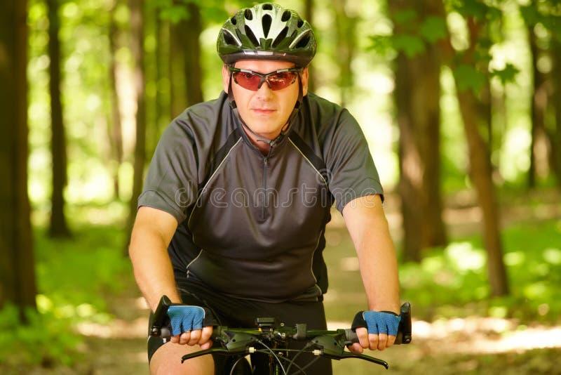 Vélo d'équitation d'homme dans la forêt photographie stock