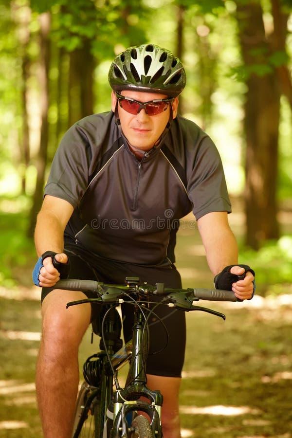 Vélo d'équitation d'homme dans la forêt photographie stock libre de droits
