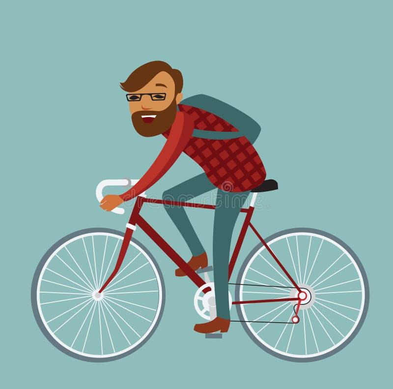 Vélo d'équitation de hippie de jeune homme illustration de vecteur