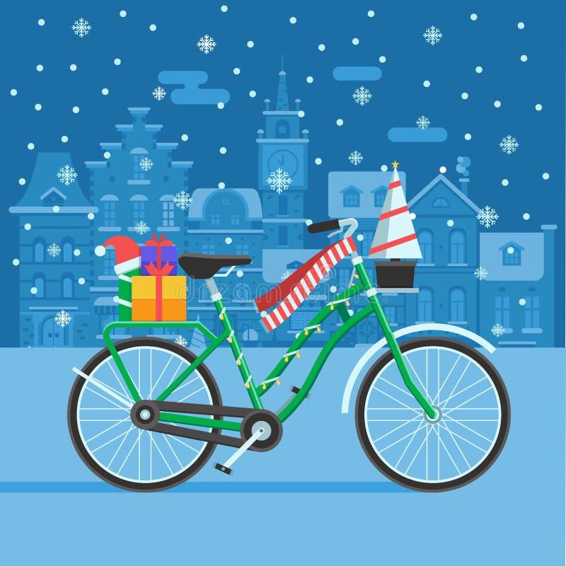 Vélo d'hiver avec des cadeaux de Noël illustration libre de droits