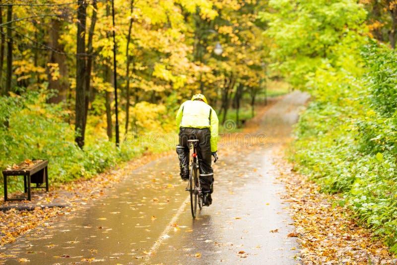 Vélo dans un parc d'automne coloré sous la pluie image stock