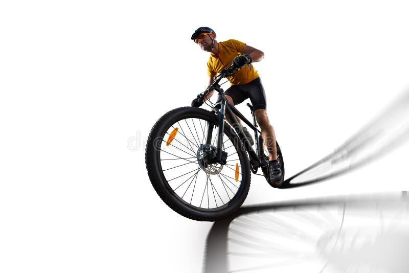 Vélo de cycle de cavalier de bicyclette d'isolement dans le blanc images libres de droits