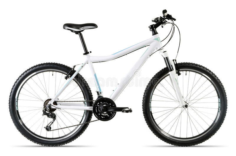 Vélo de montagne blanc avant le fond blanc images libres de droits