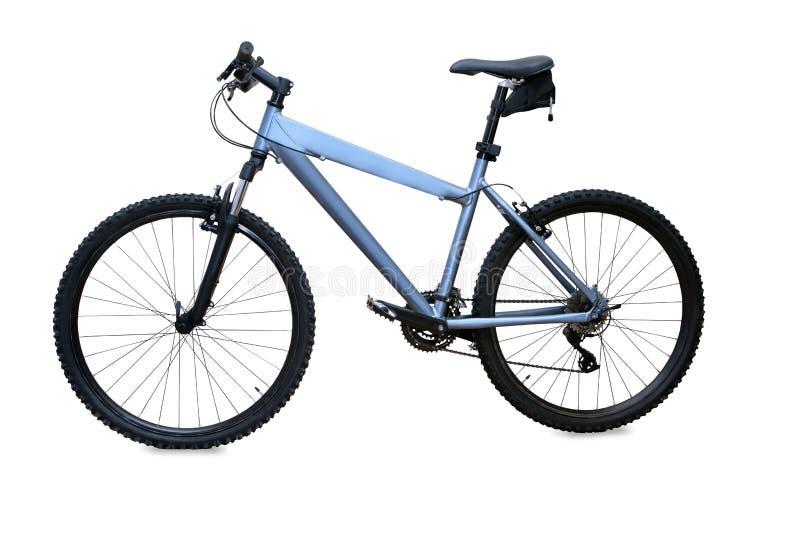 Vélo de montagne bleu d'isolement au-dessus du blanc images libres de droits