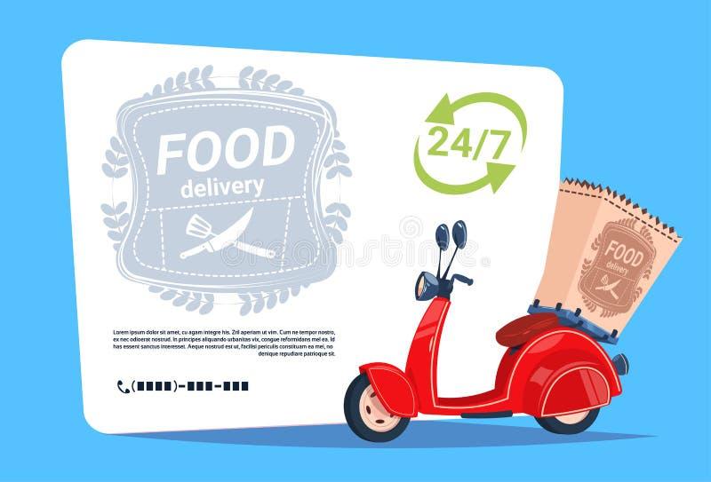 Vélo de moteur de concept d'emblème de bannière de calibre de service de distribution de nourriture au-dessus de fond avec l'espa illustration stock