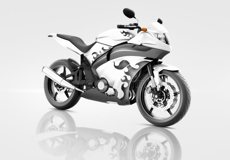 Vélo de motocyclette de moto montant Rider Contemporary Concept illustration stock