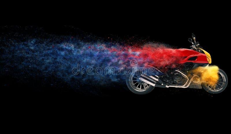 Vélo de sports - effet coloré de particules illustration de vecteur