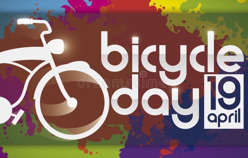 Vélo et fond psychédélique représentant le voyage de lsd pendant le jour de bicyclette, illustration de vecteur illustration de vecteur