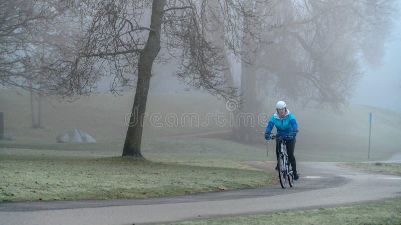 Vélo le matin brumeux photo libre de droits
