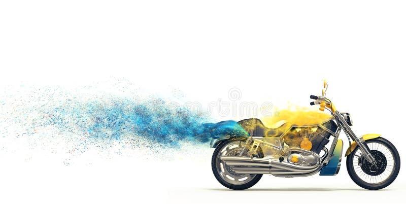 Vélo lourd jaune - particules bleues illustration stock