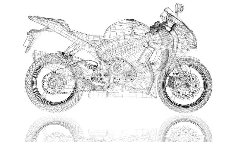Vélo, moto, modèle 3D illustration libre de droits