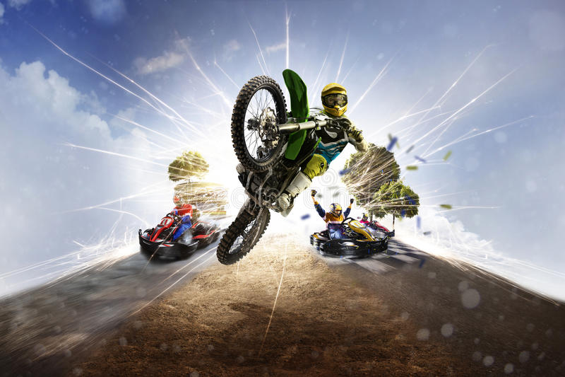 Vélo multi de saleté de collage de sport mécanique de sports karting photo libre de droits