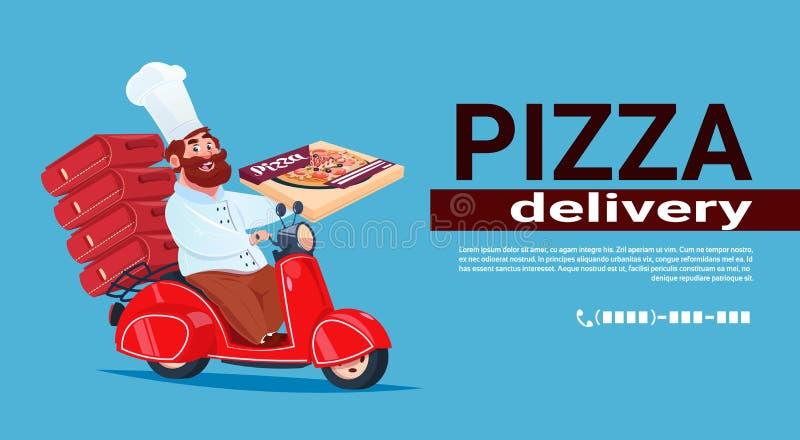 Vélo rapide de Riding Red Motor de cuisinier de chef de concept de la livraison de pizza illustration stock