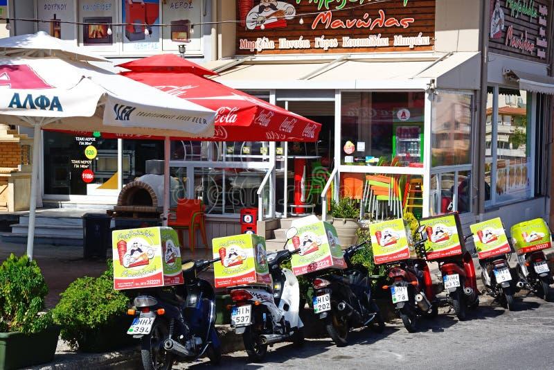 Vélos de restaurant et de livraison, Héraklion photos libres de droits