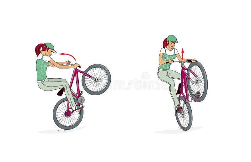 Vélos sautant des rampes Une fille sur des trains d'une bicyclette un support, tours et sauts sur une rampe de bicyclette Rampe s illustration de vecteur