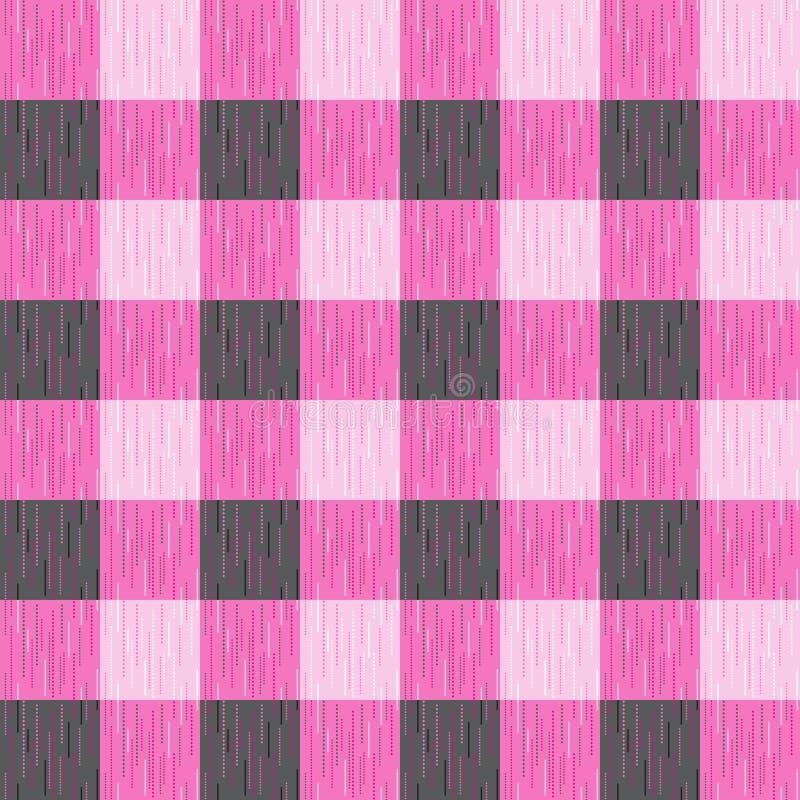 Vérifié, tartan, plaid ou modèle sans couture barré dans des couleurs roses et gris-foncé illustration de vecteur