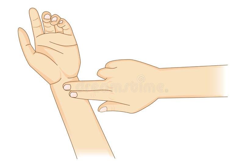 Vérification de votre coeur Rate Manually avec des doigts de l'endroit deux au poignet illustration stock