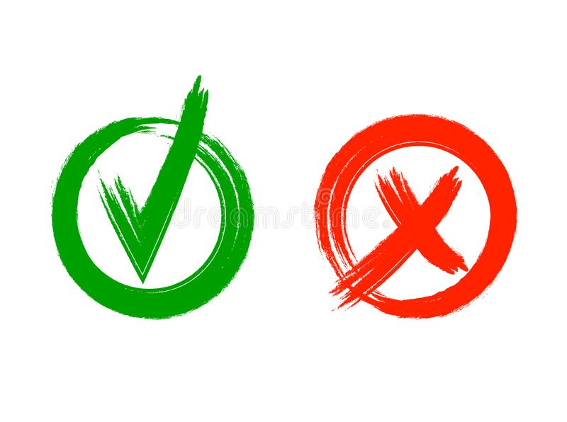 Vérifiez et croisez les marques grunges de style de VECTEUR d'isolement sur le fond blanc : icônes graphiques, vert coloré et sym illustration stock