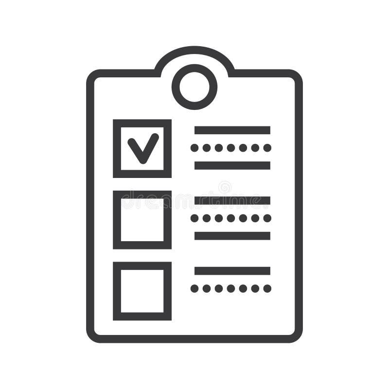 Vérifiez la ligne icône, le signe, illustration de vecteur de presse-papiers sur le fond, courses editable illustration de vecteur
