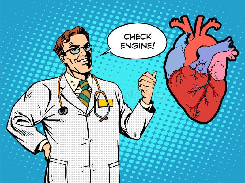 Vérifiez la santé de coeur de médecine de docteur de moteur illustration stock
