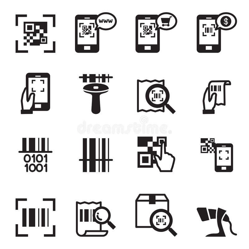 Vérifiez le code, code barres, ensemble d'Icons de lecteur de code de QR illustration stock