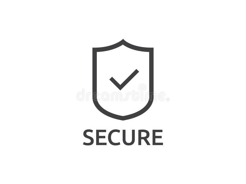vérifiez le symbole d'icône de bouclier Fixez l'illus de vecteur de concept de protection illustration de vecteur
