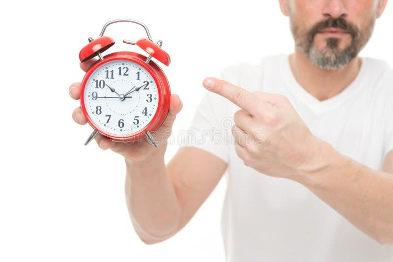 Vérifiez le temps Réveil de prise d'homme à disposition Inquiétude mûre barbue d'homme de type au sujet de temps Quelle heure est photographie stock libre de droits