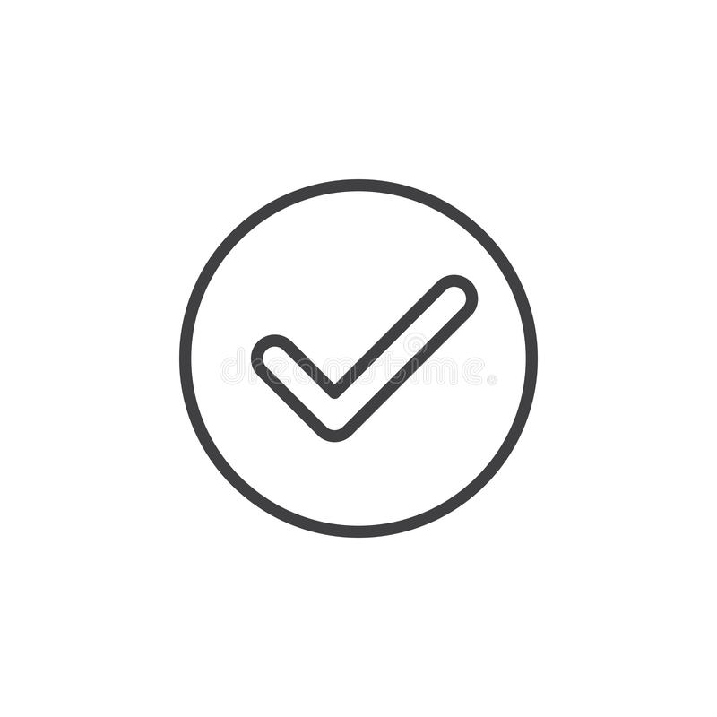 Vérifiez, ligne circulaire icône de trait de repère Signe simple rond illustration stock