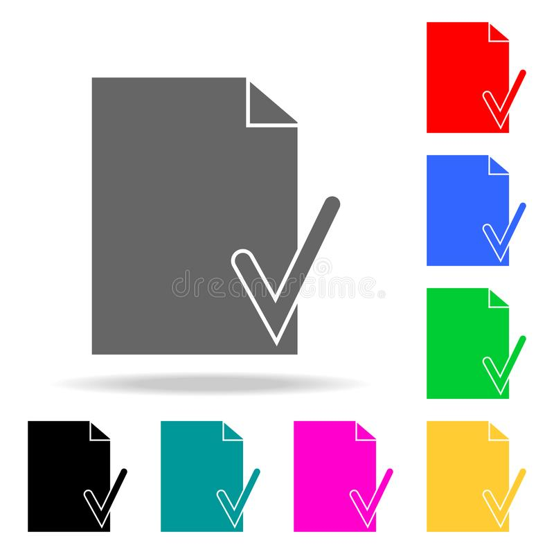 vérifiez un morceau d'icônes de papier Éléments des icônes colorées par Web humain Icône de la meilleure qualité de conception gr illustration de vecteur