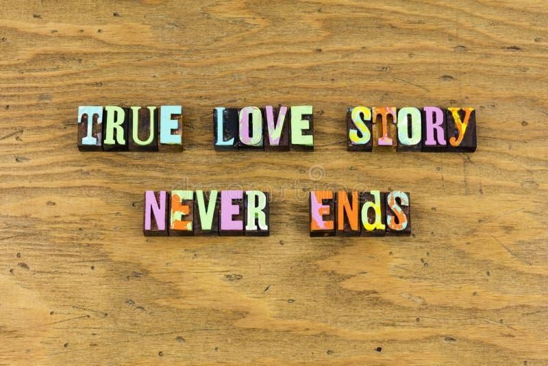 Véritable rêve d'histoire d'amour apprécier l'impression typographique photographie stock