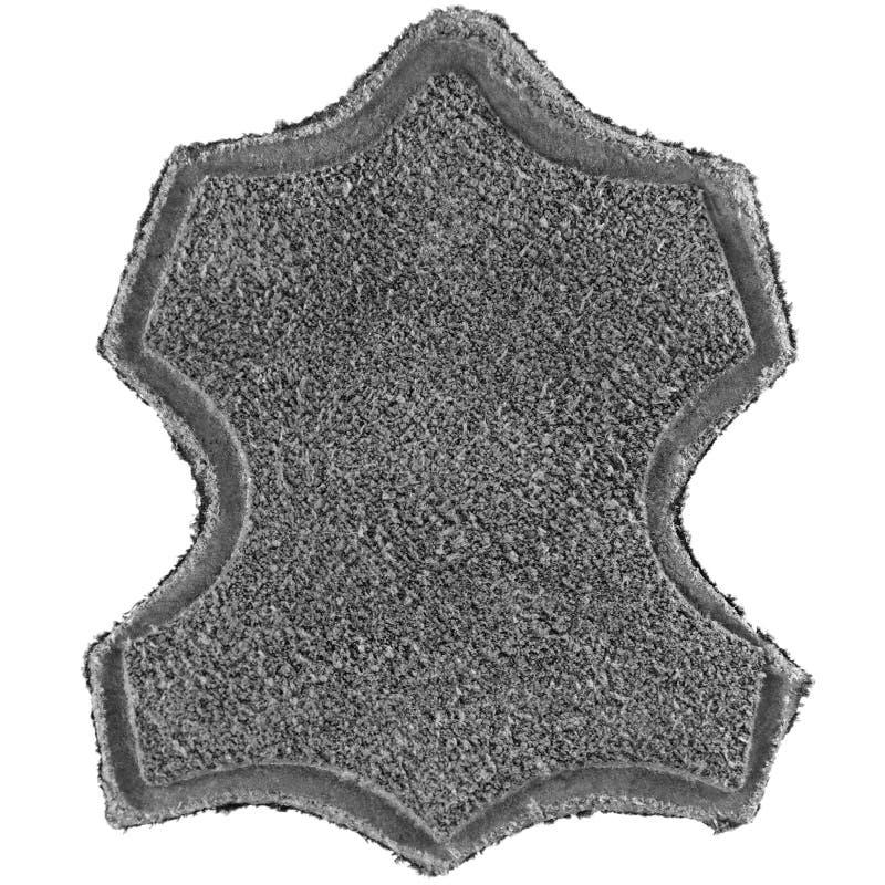 Véritable tout le label en cuir a imprimé l'étiquette d'icône des textes, texture granuleuse grise de suède, grand vide gris text photographie stock