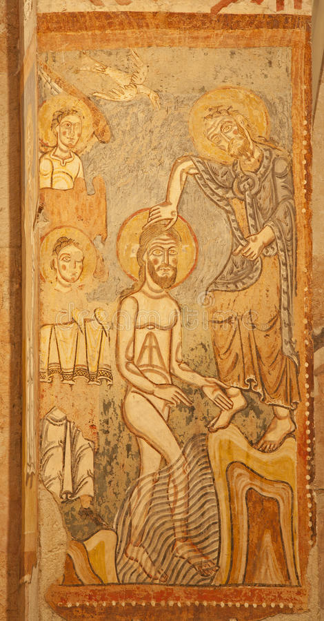 Vérone - fresque de baptême de Jésus. du cent 12. par l'auteur d'unknow de l'église inférieure San Fermo Maggiore photographie stock