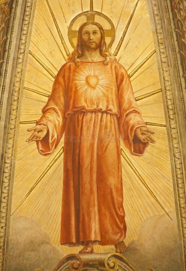 Vérone - fresque Resurrected Jésus d'abside principale d'église Santa Eufemia images libres de droits