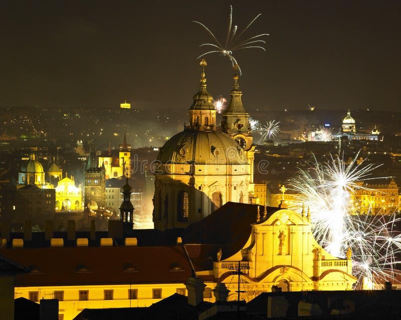 Véspera de Ano Novo em Pragud fotografia de stock