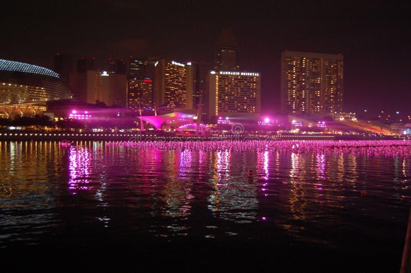 Véspera de ano novo no louro Singapore do porto fotos de stock royalty free