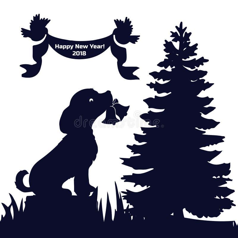 A véspera 2018 do ` s do ano novo do cartão do convite, cão na floresta senta-se sobre ilustração do vetor