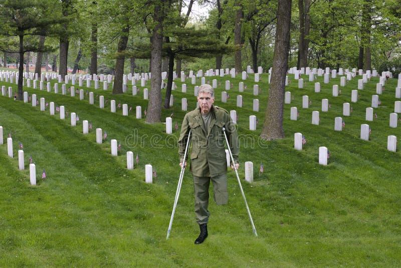 Vétéran blessé de combat de guerrier, soldat Hero, sacrifice images libres de droits