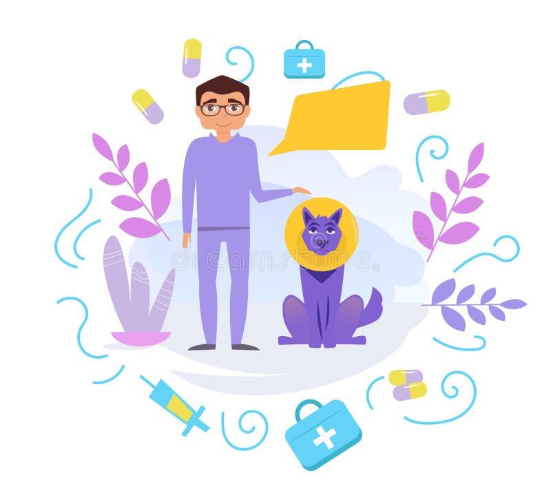 Vétérinaire avec le vecteur de chien cartoon Art d'isolement sur le fond blanc illustration libre de droits