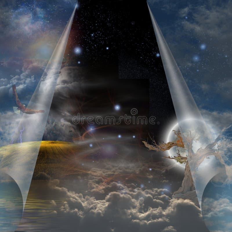 Véu de aberto puxado céu a outro ilustração stock